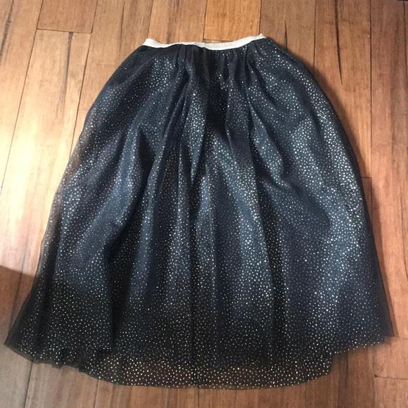 706032e7f3 Cat & Jack Bottoms | Girls Black Gold Glitter Maxi Tulle Skirt ...